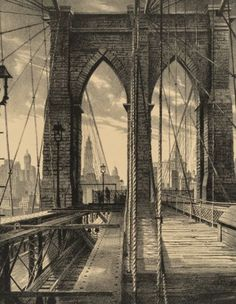 Stow Wengenroth Brooklyn Bridge, 1950 Lithograph on paper laid on board 15 x inches x - Available at 2018 November 13 Century. Nyc Art, Vintage New York, Brooklyn Bridge, Historical Photos, White Photography, Old Photos, Places To See, New York City, Photo Art