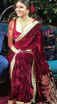 Items similar to Anushka Sharma inspired velvet sari, indian sare, women clothing on Etsy Asian Wedding Dress, Indian Wedding Outfits, Bridal Outfits, Indian Outfits, Saree Designs Party Wear, Party Wear Sarees, Pakistani Formal Dresses, Indian Dresses, Anushka Sharma Saree