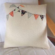 Vintage cushion cover - orange bunting