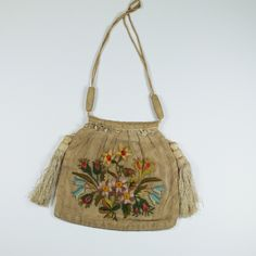 Antique English Regency Reticule Purse Needlepoint Crewel on Gauze 1820