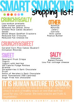 healthy snacks list