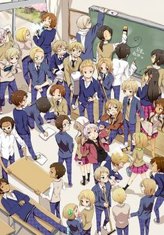 Gakuen Hetalia Clean-up madness! Russia, what are you doing?
