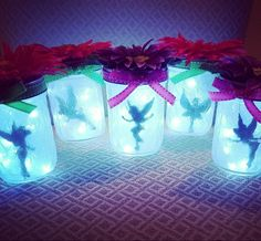 "Fairy light for Tinkerbell birthday party. Easy decor centerpieces. Perfect parting gifts ""it was 'fairy' nice of you to come."" Disney Princess party. Nightlight"