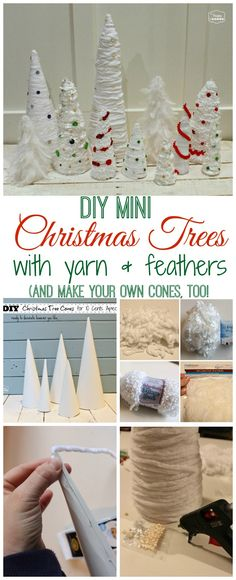Easy Thrifty DIY Mini Christmas Trees {with Yarn and Feathers} - The Happy Housie