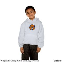 Weightlifter Lifting Barbell Circle Retro Hoody. 2016 Rio Summer Olympics kids hooded sweatshirt designed with an illustration of a weightlifter lifting barbell with both hands viewed from front set inside a circle done in retro style. #weightlifting #olympics #sports #summergames #rio2016 #olympics2016