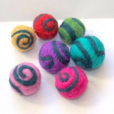 Spiral Needle Felted Beads