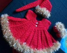 Christmas crochet baby dress set.