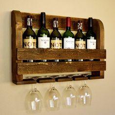 Rustic Wood Wine Rack and Wine Glass Holders