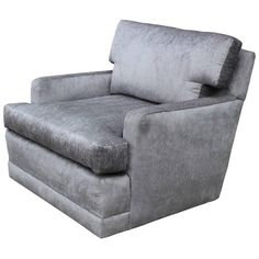 Stunning Silver Velvet Swivel Lounge Chair | From a unique collection of antique and modern lounge chairs at https://www.1stdibs.com/furniture/seating/lounge-chairs/