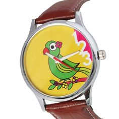 Jalebi Parrot Talk Wrist Watch     This jalebi wristwatch has a sweet little parrot sitting on a twig and enjoying itself. The watch has a metal rim and a light brown leather strap.
