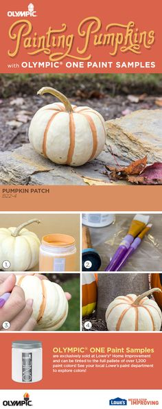 Choose white pumpkins & paint with bold colors for a unique, modern take on decorating with pumpkins for fall!