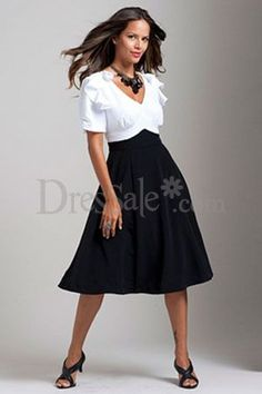 Classic White and Black Cocktail Party Dress