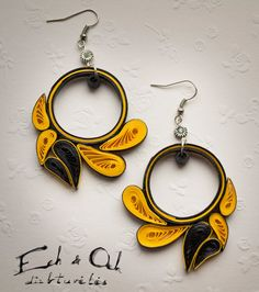 Paper quilling eco-friendly yellow black dangle earrings