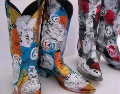 SALE Hand Painted and Embellished Boots by MelonyBradley on Etsy, $40.00