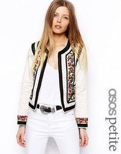 ASOS PETITE Jacket With Statement Embroidery and Rope Detail