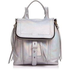 Botkier Warren Metallic Leather Backpack - 100% Exclusive (£169) ❤ liked on Polyvore featuring bags, backpacks, holographic bags, leather backpack, metallic backpack, leather knapsack and leather bags