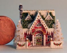 OOAK Miniature Dollhouse Vintage Night Before Christmas Putz Glitter Mica House