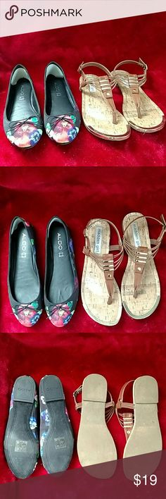 ALDO and Madden Girl sandals Aldo flats have been worn once, like new condition. It also has comfortable soles added. Madden girl worn a few times, great condition. Aldo Shoes Sandals