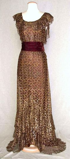 Metallic Brown Gown - 1934 - Brooklyn Museum. The merlot sash makes this outfit.