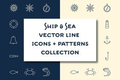 15 Ship & Sea line icons + patterns by @Graphicsauthor