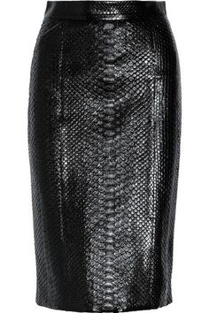 Black veggie leather embossed crocodile skin pencil skirt.. Get the supplies to make it: http://mjtrends.com/pins.php?name=embossed-veggie-skin-crocodile-fabric