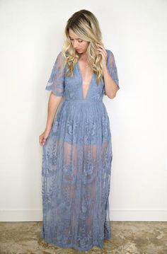 """*Est ship date 12/19 Details Embroidered Lace Maxi Dress with solid lining and deep v-neck Content + Care - 100% polyester - Machine wash with cold water. Hang or line dry. Size + Fit - Model is 5'4"""""""