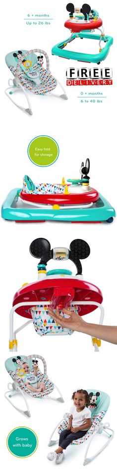 Walkers 134282: Baby Walker Rocker Activity Center Gym Exersaucer Bouncer Toddler Car Disney New -> BUY IT NOW ONLY: $69.99 on eBay!