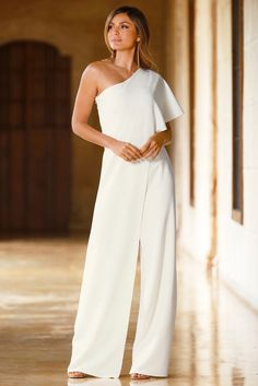 Trending Fashion | Women's One Shoulder White Jumpsuit by Boston Proper.