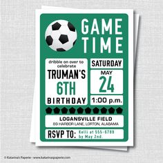 Goal! Shoot a goal at your next birthday party with our custom soccer birthday invitation. Each invitation features a classic colors and soccer ball. Its the perfect way to announce your soccer themed celebration. Invite your guests to spend an afternoon in the pumpkin patch