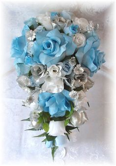 8pc Wedding Bouquet Flowers Light Blue White Silver Roses Silk Bridal Cascade Package