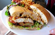 BLACKENED HALIBUT BLT with FRIED GREEN TOMATOES - (And Shoe String Potatoes) - Nettie's Crab Shack - San Francisco, CA