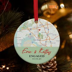 This lovely custom map engagement ornament is a thoughtful anniversary or Christmas present for your spouse. It shows the location of your engagement and can be customized with your names and date of engagement. It's a perfect personalized gift to show your spouse just how much that precious memory means to you. #anniversarygifts#anniversarygiftideas#ornament#couples