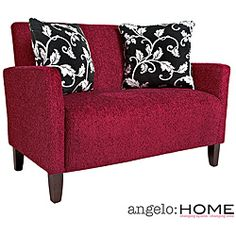 @Overstock.com - angelo:HOME Sutton Bixby Cherry Red Loveseat - Covered in beautiful Bixby Cherry Red velvet chenille, this loveseat sits pretty and comfortably. It includes two decorative pillows and features a sturdy wood frame glued and corner blocked.  http://www.overstock.com/Home-Garden/angelo-HOME-Sutton-Bixby-Cherry-Red-Loveseat/4398006/product.html?CID=214117 $299.69