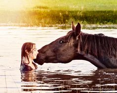 Girl Horse Lover Happiness Joy Summer Swimming-Photograph 8x10- Home Decor  Fine Art Print. $35.00, via Etsy.