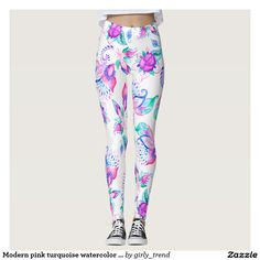 Modern pink turquoise watercolor floral paisley leggings