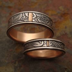 Sunflower Wedding Band Set in Sterling Silver & 14k Rose Gold. $500.00, via Etsy.