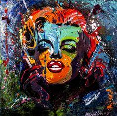 Custom made Marilyn #5  Aluminium Canvas 80x80 cm Acryl and Sraypaint  @ www.veermania.nl