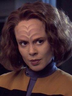 Roxann Dawson in her B'Elanna Torres makeup on Voyager.