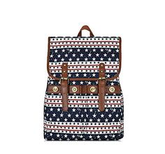 Street casual canvas shoulder bag backpack bag men and women college wind bag American Flag  American flag fashion leisure wild shopping computer compartment shoulder bag large capacity limited edition, high-density cotton fabric, in strict accordance with European standards customized anti-fade, do not fade, thick, durable, comfortable, the perfect element on the American Stars and Stripes fusion, plus exquisite workmanship, the quality of displayed without reservation. Drawstring f..