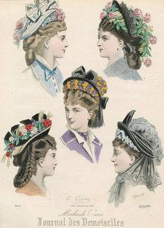 Очаровательные шляпки 1877 года. Франция. Journal des Demoiselles et Petit Courrier des Dames Réunis.