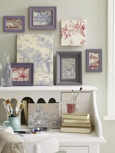 Toile de Jouy  love the open frames with just fabrics great idea for all those old pic frames in the closet