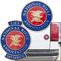 "NRA Shield Emblem - $19.99  Display this emblem as proudly as you do your American Flag. The difference is that our NRA Shield Emblem can adhere anywhere. Show others your pride by placing the emblem onto your vehicle, gun safe, or at your local range. This die cast emblem is 3"" in diameter and is 2mm thick with a 2-color enamel and epoxy finish. A beautifully detailed gold plated NRA Eagle and lettering set in a"