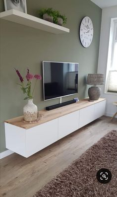 TV unit high-gloss white with solid oak top - TV furniture # living room . - TV unit high-gloss white with solid oak top – TV furniture # living room - Living Room Decor Tv, Living Room Tv Unit, Tv Decor, Living Room Lighting, Home Living Room, Living Room Designs, Home Decor, Tv Living Rooms, Decor Ideas
