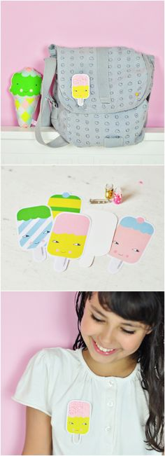 Free Printasble Ice Cream Paper Brooches. Cute summer craft for kids! - by PinkNounou