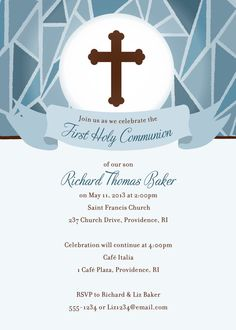 boy first communion digital invitation 0081 por lillyspartyboutique