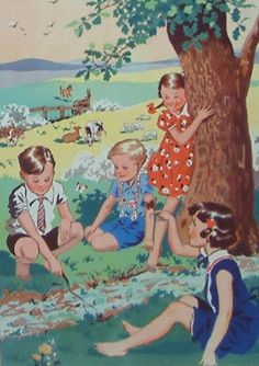 Poster Print Wall Art Print entitled Children Playing By Stream Vintage Children's Books, Vintage Art, Images Vintage, Children's Book Illustration, Antique Illustration, Framed Artwork, Illustrators, Giclee Print, Pin Up