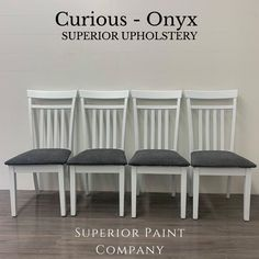 We refinished and reupholstered the set of 4 dining chairs using Superior Paints and Upholstery.   High quality family friendly upholstery! Wooden Dining Chairs, Dining Bench, Coffee Table Refinish, Solid Oak Coffee Table, Large Drawers, Modern Farmhouse Style, Little White, Upholstery, Furniture