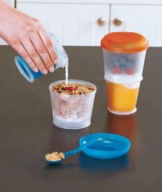 """Set of 2 """"Cereal On The Go"""" Travel Containers"""