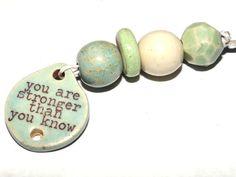 Ceramic Quote Bead Set & Pendant Handmade Stoneware by Grubbi