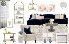 Classic, Traditional Living Room Design by Havenly Interior Designer Lauren Classic, Traditional Living Room by Havenly Glam Living Room, Living Room Furniture, Living Room Decor, Transitional Living Rooms, Classic Home Decor, Modern Decor, Living Room Designs, Interior Design, Navy Chevron